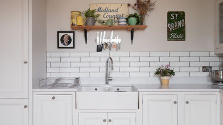The sink is a Villeroy & Boch 'Farmhouse 80' sink with a Quooker Flex 3-in-1 boiling water tap in ch