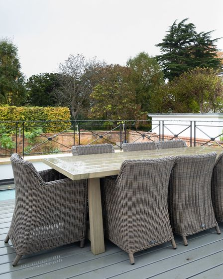 The extended terrace has been laid with Trex, a weather-proof type of decking, made of thousands of