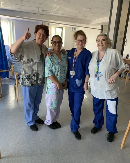 St Margaret's Poplar Ward with scrubs made by the Nazeing group