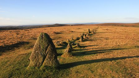 Stone rows at the Merrivale Prehistoric settlement on Dartmoor, one of the finest examples of its ki