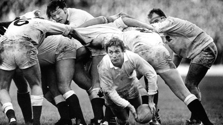 Fran Cotton and Steve Smith in action on the rugby pitch Photo: Cotton Traders