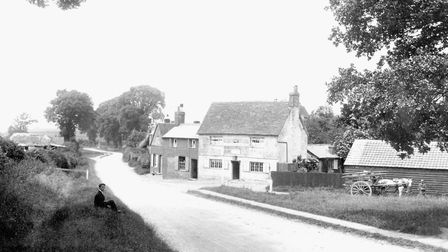 Coreys Mill in 1903, on the road out of Stevenage to Hitchin, near Rooks Nest. The building, a resta