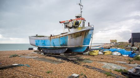Hythe''s seafront and pebble beach- at the far end you''ll find the fishermen's landing beach where
