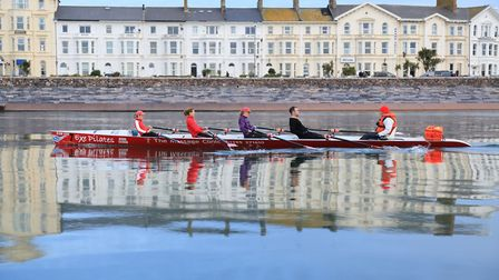 Exmouth gives sea rowers a range of conditions including perfectly calm waters. Photo: Tom Hurley