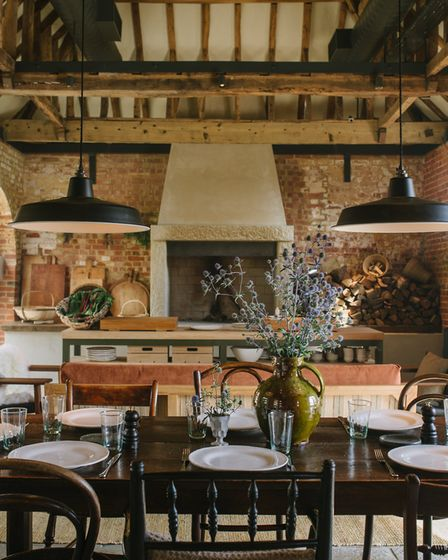 Country kitchen dining at Heckfield Place