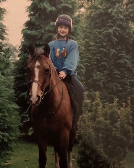 Rebecca, aged seven, learning to ride on her family's country home in Arclid Photo: Rebecca Wood