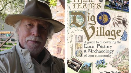 Tim Taylor and the cover of his book Dig Village. Photo: Tim Taylor