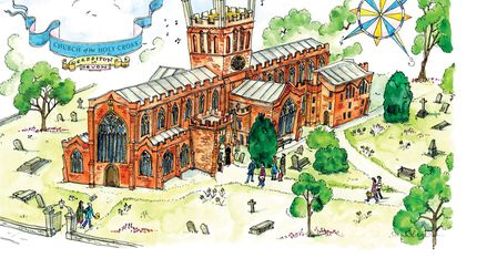 Sara Nunan's illustration of Crediton Church from the Time Team's Dig Village book