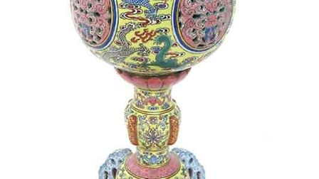 19th century Chinese porcelain wig stand, hammer price £80,000. Picture: Adam Partridge Auctioneers