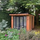 Contemporary style, cedar clad garden room, complete with external lights and interior downlights, f