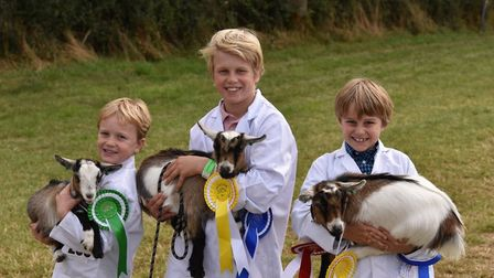 James, Sam and Finlay Sheasby and their Pygmy goats