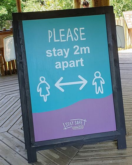 New signage reminds visitors to keep their distance