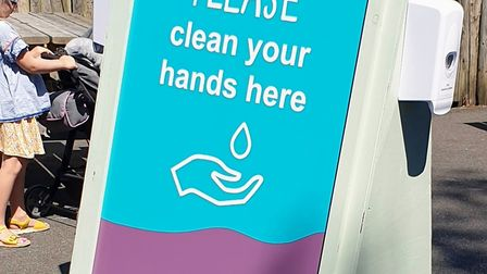 Hand sanitiser stations are found throughout the zoo