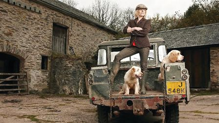 Rachel Johnson, with dogs, in Somerset, 2014