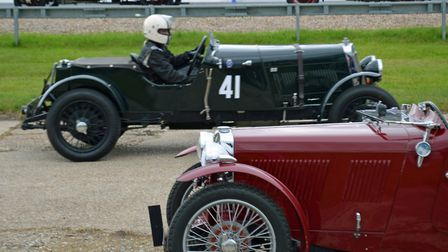 In usual circumstances, classic and vintage sport cars race at Brooklands historic race track as par