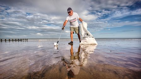 Oliver Sterno on Eastbourne seafront ahead of a mass post-lockdown weekend litter pick Photo: Jim Ho