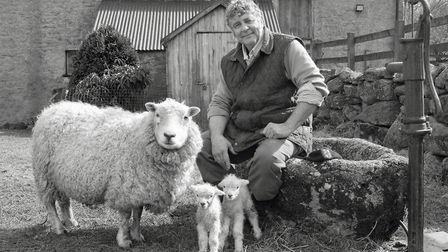 Colin Pearse with Whiteface ewe and lambs, Barramoor. Photo: Chris Chapman