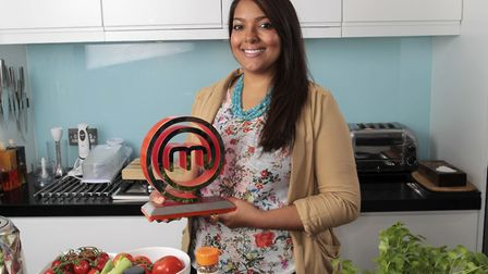 Shelina with her Masterchef trophy back in 2012