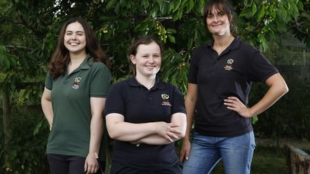 Emily Bedson, a trainee wildlife care assistant, Rosie Healy-York and Georgina Lewis, wildlife care