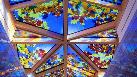 The stained glass ceiling in the Coach House Spa at Beaverbrook Image: Beaverbrook