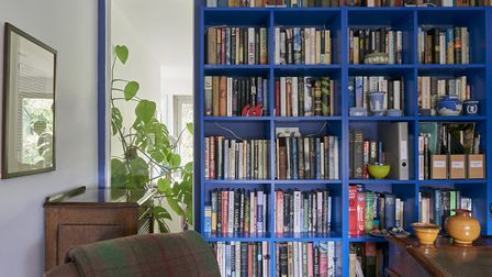 The choice of blue in the study was taken from an exhibition at Dulwich Picture Gallery