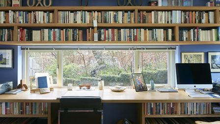 The linear window in the study was inspired by an episode of Poirot, and allows a bookcase to run ab
