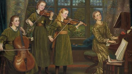 The Home Quartet by Arthur Hughes, Mrs Lushington and daughters at Pyports. Image: Surrey History Ce