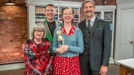 Clare Bradley with Great British Sewing Bee Judges Esme Young and Patrick Grant and Presenter Joe Ly