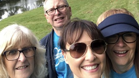 Emma with some of her family taking part in the Alzheimer's Society Memory Walk at Painshill Park. I