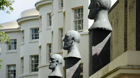 The Desert Quartet, a series of large sculpture heads by Dame Elisabeth Frink in Liverpool Gardens,