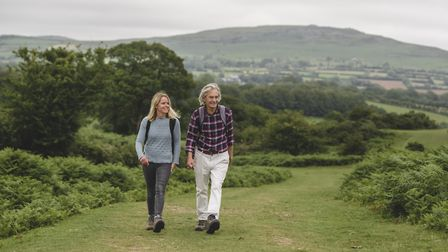 Chrissy just about kept up with Peter Evans on his seven-mile walk Photo; Steven Haywood