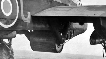 A practice 'Upkeep' bomb, as designed by Barnes Wallis, attached below Wing Commander Guy Gibson's'