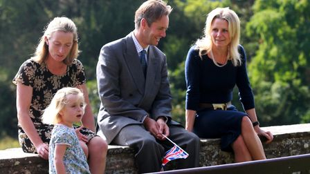 Charles Berkeley and his family await the arrival of HRH The Countess of Wessex at Berkeley Castle i