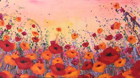Orange and red poppies by Becks Porter