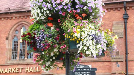 Floral decorations in front of the Market Hall