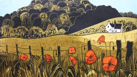Poppies and Downs Linocut c. 1968. Courtesy of Emma Mason Gallery