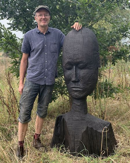 Dominic Clare with Diva. Dominic creates incredible sculptures from wood, steel and occasionally sla