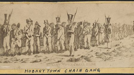 Hobart Town Chain Gang in the 1800s, Tasmania, Australia (Accession no. H2408, State Library of Vict