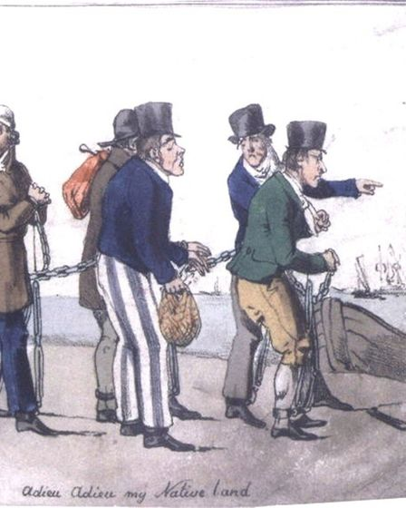 Contemporary drawing of convicts in a chain gang in Australia