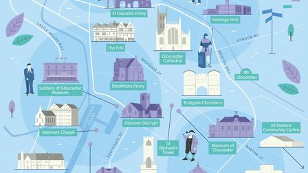 Gloucester History Festival map, by Tom Woolley/Squeaky Pedal