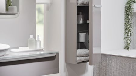 Geberit myDay 1500 tall cabinet taupe gloss £1,056.32. Picture: Geberit.