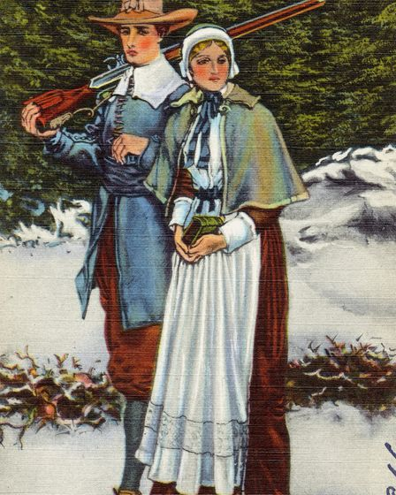 Priscilla and John Alden, from a postcard, mid-20th century Image: Submitted