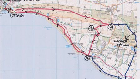 Map for Hampshire Life walk (Freshwater Bay, Isle of Wight) Sept 2020 issue