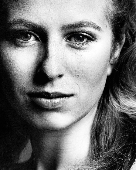 A striking balck and white portrait of the young Princess Anne