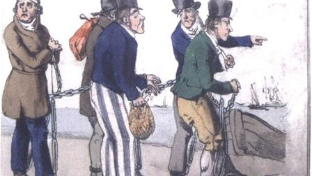 A contemporary drawing of convicts in a chain gang in Australia
