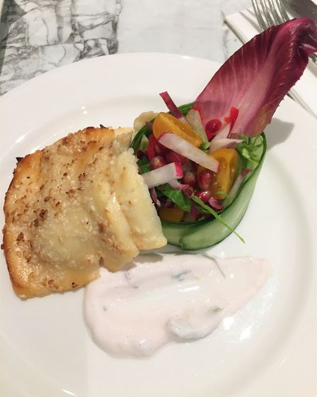 Starter of grilled halloumi with chicory salad
