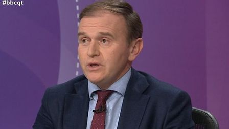 George Eustice appears on Question Time. Photograph: BBC.
