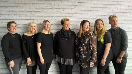 Mary Pugsley with her Hair@theAcademy team: L-R: ?Jodie, Julie, Claire, Mary, Vicky, Leah and Tyler.