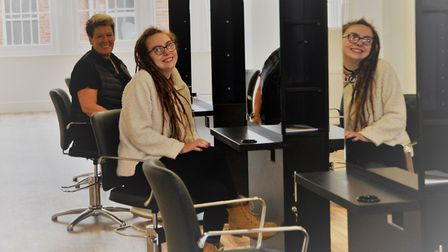 Abi Hart was the first Hair@theAcademy student to view new salon with Mary Pugsley. Photo: Glen King