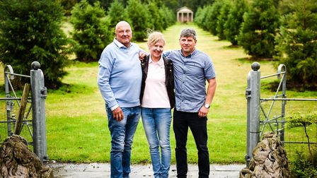 Kirk, Bev and James Shenton at the entrance to Ladies Walk Photo: Fiona Bailey Photography